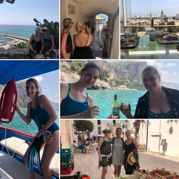 Two american ladies in Sperlonga, on boat tour. Wine and Food tasting